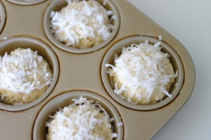 muffin batter w/ coconut topping