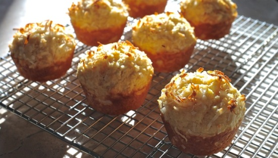 double coconut muffins cooling